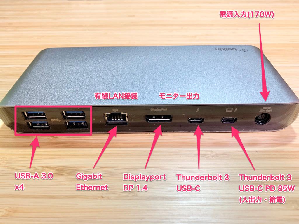 belkin Thunderbolt 3 Dock Pro 裏面