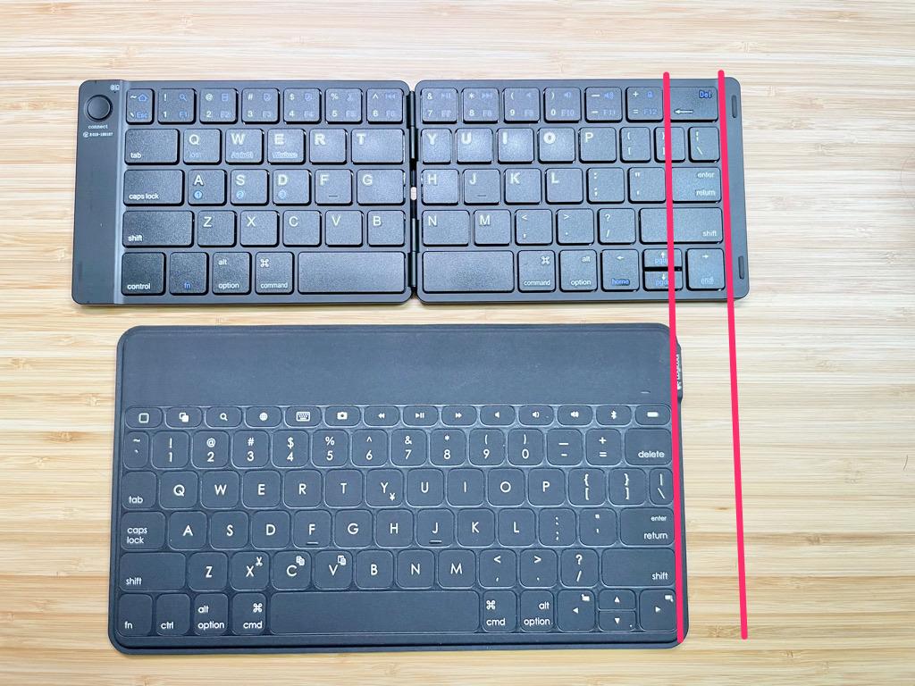 モバイルキーボードの幅の違い